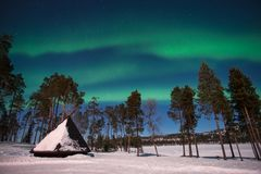 Northern lights, Aurora Borealis in Lapland Finland Royalty Free Stock Images