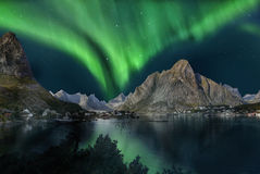 Northern Lights, Aurora Borealis. Northern lights - Aurora Borealis on Lofoten, Norway Royalty Free Stock Photo