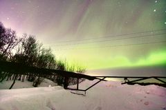 Northern Lights Aurora Borealis in Murmansk , Russia Stock Photos