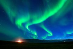 Northern lights Aurora borealis at night stock images