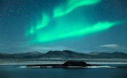 Northern Lights Aurora Borealis. At night Royalty Free Stock Images