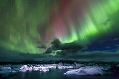 Northern lights. Aurora borealis over Jokulsarlon lagoon in Iceland Royalty Free Stock Photo