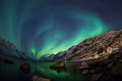 Northern lights (Aurora borealis) over Mountain Royalty Free Stock Images