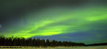 Northern Lights (Aurora borealis) over snowscape. Royalty Free Stock Images