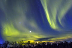 Northern Lights (Aurora borealis) over snowscape . stock photo