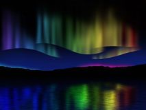 Northern lights (Aurora borealis) reflection across a lake in Ic Royalty Free Stock Images