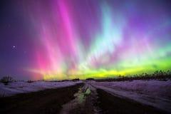 Northern lights. (Aurora borealis) in Russia. Izhevsk Royalty Free Stock Image