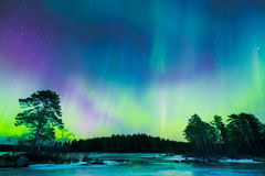 Northern lights (Aurora borealis) in the sky Stock Photo