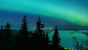 Northern lights (Aurora borealis) in the sky stock footage