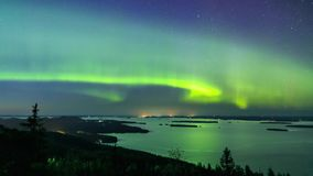 Northern lights (Aurora borealis) in the sky stock video footage
