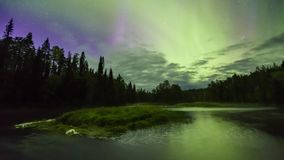 Northern lights (Aurora borealis) in the sky stock video