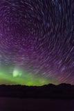 Northern lights aurora borealis star trail Stock Image