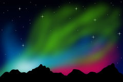 Northern lights. Or aurora borealis in the winter sky Stock Images