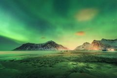 Northern lights on the beach in Lofoten islands, Norway. Northern lights in Lofoten islands, Norway. Green Aurora borealis. Starry sky with polar lights. Night royalty free stock images