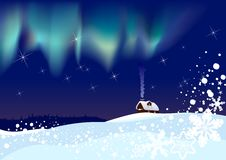 Northern Lights on Christmas night. Lonely hut in the middle of a snow-covered field in a magic Christmas night with Northern lights. Hi-res jpeg included Stock Photo