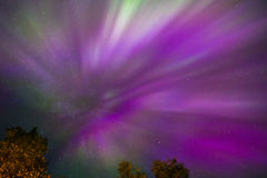 Northern lights Crown (Aurora borealis) in the sky. Colorful Northern lights Crown (Aurora borealis) in the sky stock image