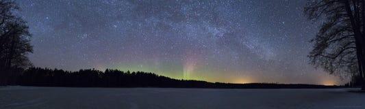Northern lights in Estonia. Northern lights panorama photographed in Saaremaa Estonia Stock Photography