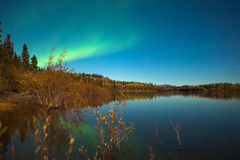 Northern lights and fall colors at calm lake Royalty Free Stock Image