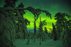 Northern lights in Finish Lapland stock photography
