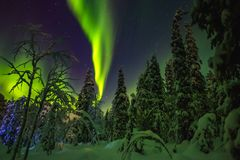 Northern lights in Finish Lapland stock images