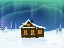 Northern lights forest house Royalty Free Stock Images