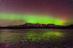 Northern Lights. The Northern Lights green and red damce over a mountain Stock Photography