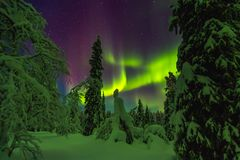 Northern lights in Finish Lapland stock photos