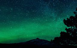 Northern lights in January. Northern lights and starry skies in January royalty free stock image