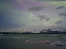 Northern Lights in Jokulsarlon ,iceland Royalty Free Stock Image