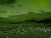 Northern Lights in Jokulsarlon ,iceland. Jokulsarlon site for floating ice bergs & northern lights Royalty Free Stock Images