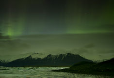 Northern Lights in Jokulsarlon ,iceland Royalty Free Stock Photo