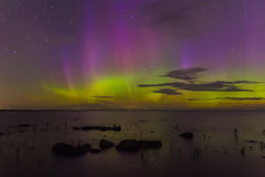 Northern Lights on Lake Ladoga, Leningrad, Russia Stock Photos