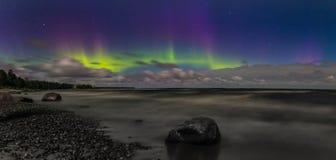 Northern Lights on Lake Ladoga, night sky over Ladoga, Leningrad, Russia Stock Image