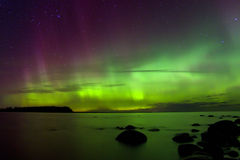 Northern lights 03.11.15 , lake Ladoga, Russia Royalty Free Stock Photos