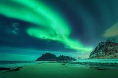 Bright aurora, sea, sandy beach and snowy mountains. Northern lights in Lofoten islands, Norway. Green aurora borealis. Starry sky with polar lights. Winter stock photo