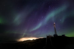 Northern lights nearby Nuuk city Stock Photo