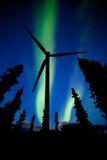 Northern Lights night sky wind turbine silhouette Stock Photos