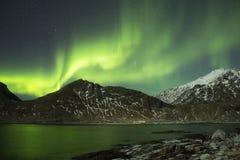 Northern lights. Dancing above Lofoten islands stock image