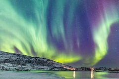Northern lights in Northern Norway stock photos