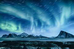 Northern Lights in Norway. Northern Lights, Aurora Borealis shining green in night starry sky with star tracks at winter Lofoten Islands, Norway Royalty Free Stock Images