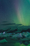 Northern lights over the ice lagoon, Iceland Stock Photos