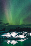Northern lights over the ice lagoon, Iceland Stock Image