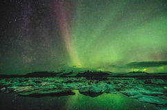 Northern lights over the ice lagoon, Iceland Stock Photography