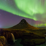 Northern lights over Kirkjufell mountain in Iceland Royalty Free Stock Photography