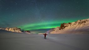 Northern lights over the mountains in Vik Royalty Free Stock Photos