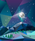 Northern lights over mountains in winter night with moon vector Royalty Free Stock Photos