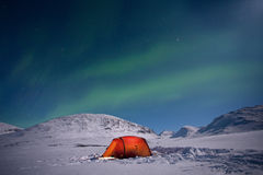 Northern lights over a Tent Royalty Free Stock Images