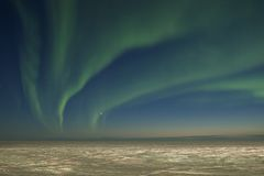 Northern lights over tundra Stock Images