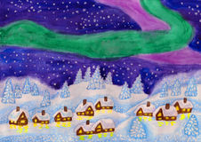 Northern lights, painting Stock Photo