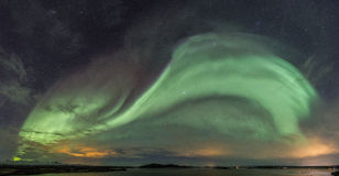 Northern Lights Panorama. A panorama view of Northern Lights over Thingvellir, Iceland Stock Image